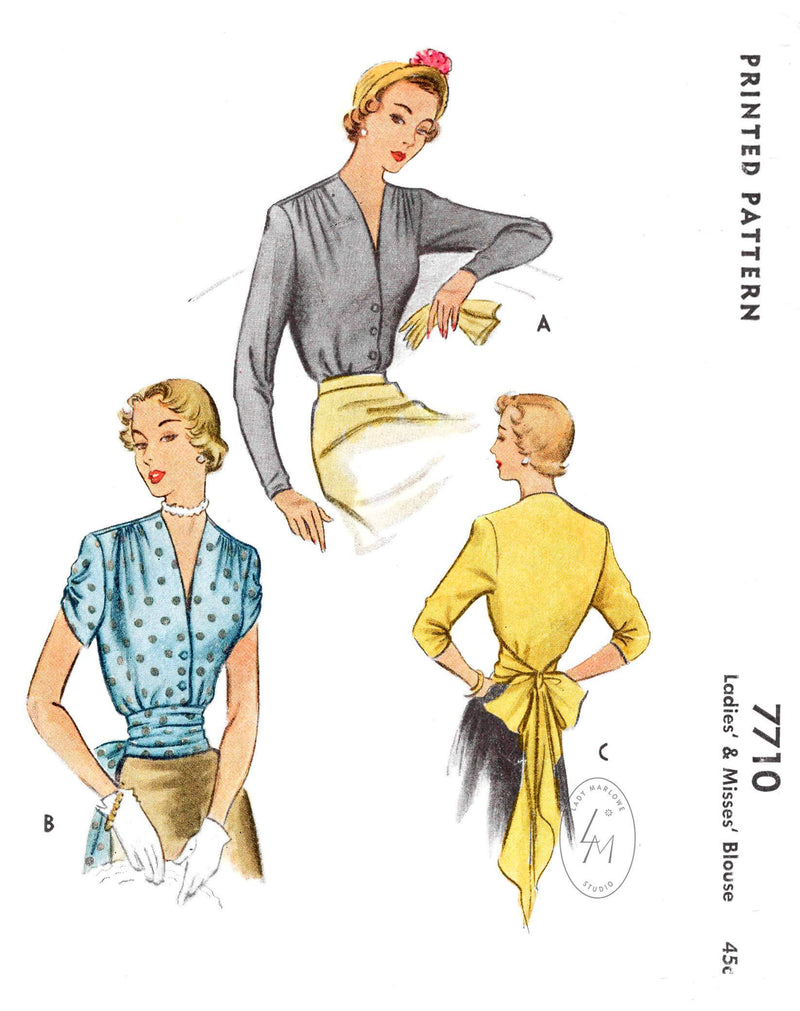1940s 1950s blouse McCall 7710 shirring detail sash bow waist vintage sewing pattern reproduction