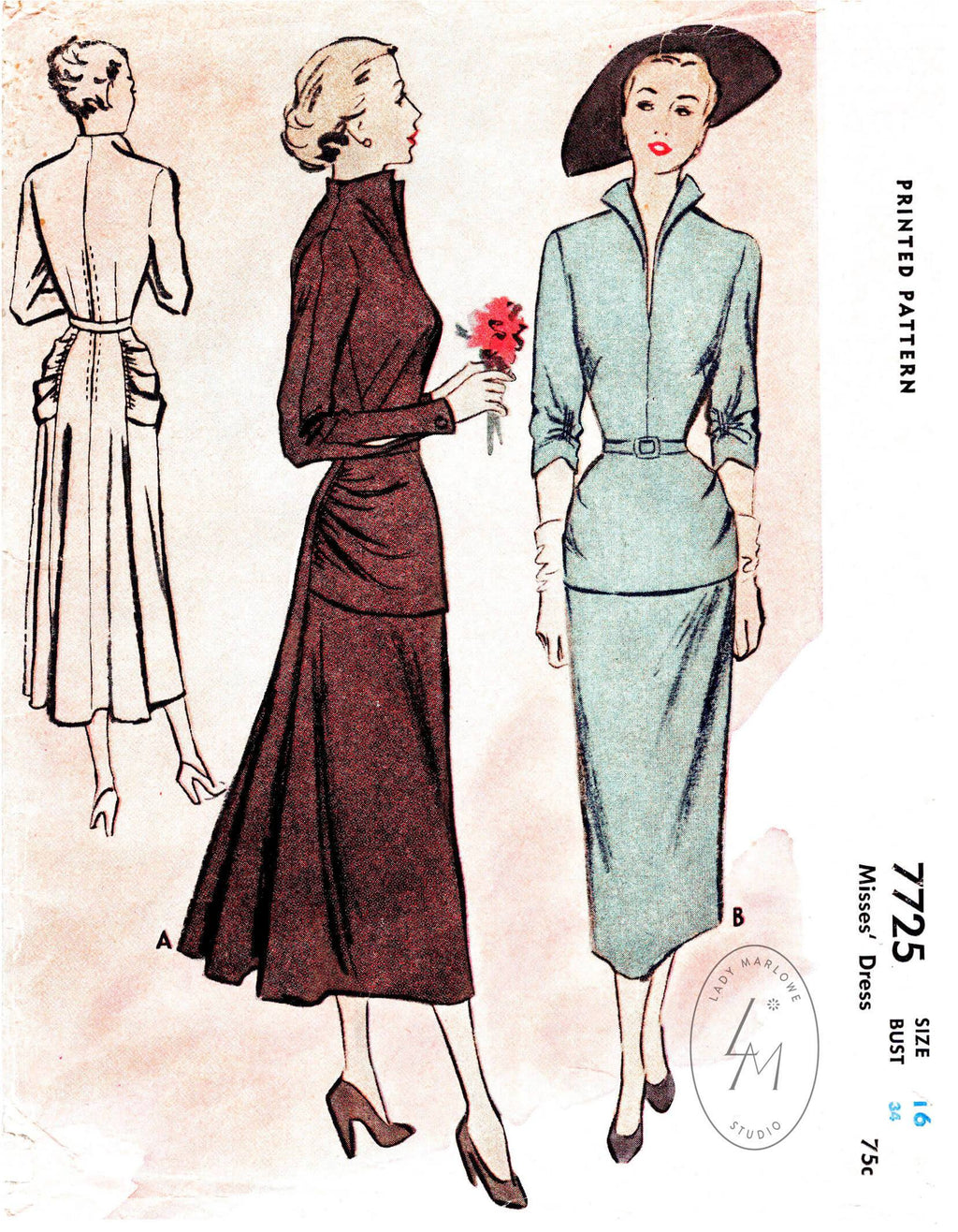 McCall 7725 1950s sewing pattern 1950 cocktail dress