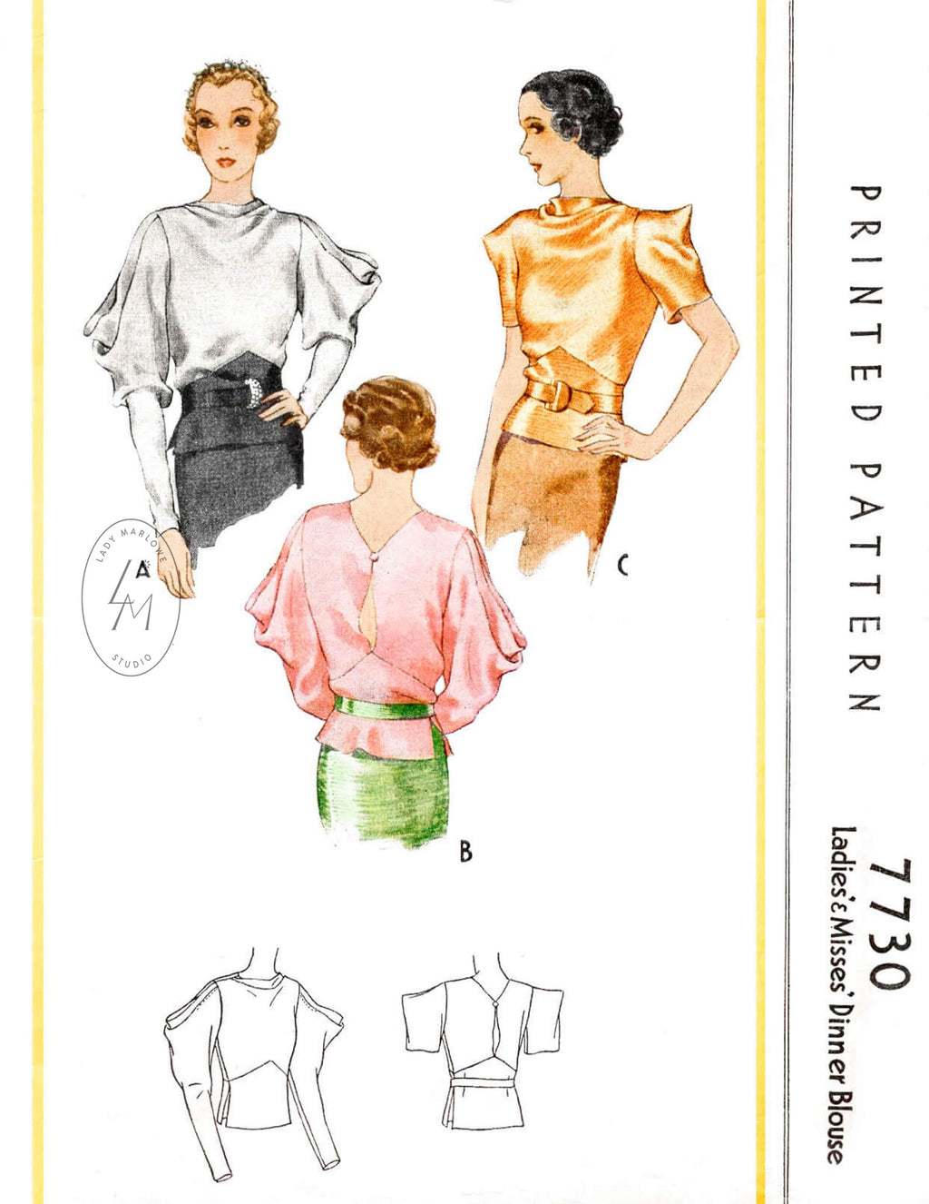 1930s McCall 7730 1934 evening blouse draped sleeves cowl neck vintage sewing pattern reproduction