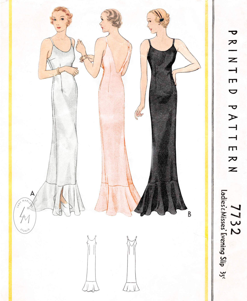 1930s 1934 evening gown length slip dress McCall 7732 low plunge back flounce hem vintage sewing pattern reproduction