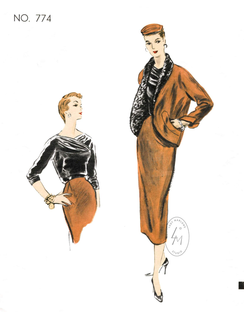 1950s skirt suit & box jacket set Vogue Couturier 774 vintage sewing pattern reproduction
