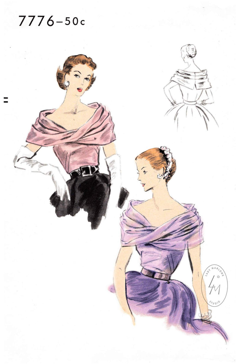 1950s 1952 evening blouse pattern Vogue 7776 wide bias drape décolletage detail vintage sewing pattern reproduction