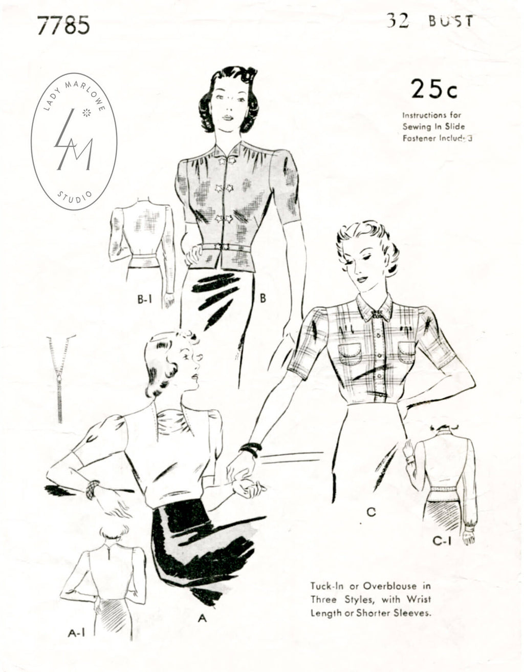 Butterick 7785 1930s blouse vintage sewing pattern