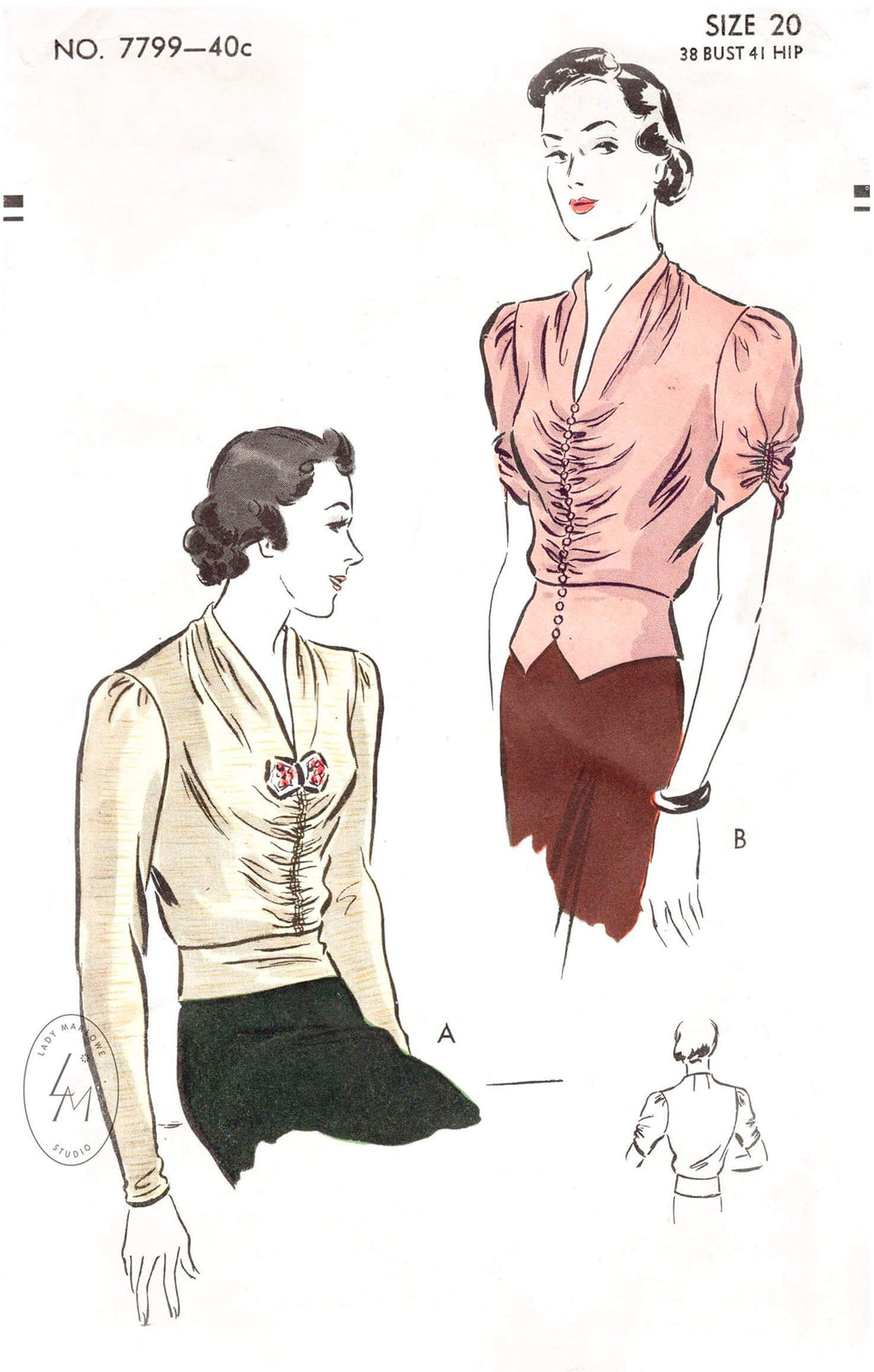 1930s Vogue 7799 draped neckline blouse with front ruching detail 2 styes vintage sewing pattern repro