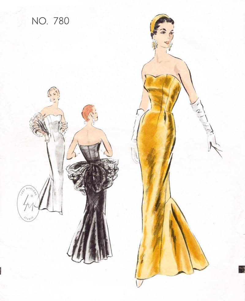 1950s evening gown Vogue Couturier 780 mermaid dress strapless bustier vintage sewing pattern reproduction