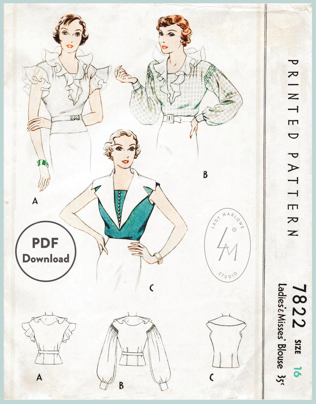 McCall 7822 1930svintage sewing pattern 1930 30s blouse tops PDF digital download