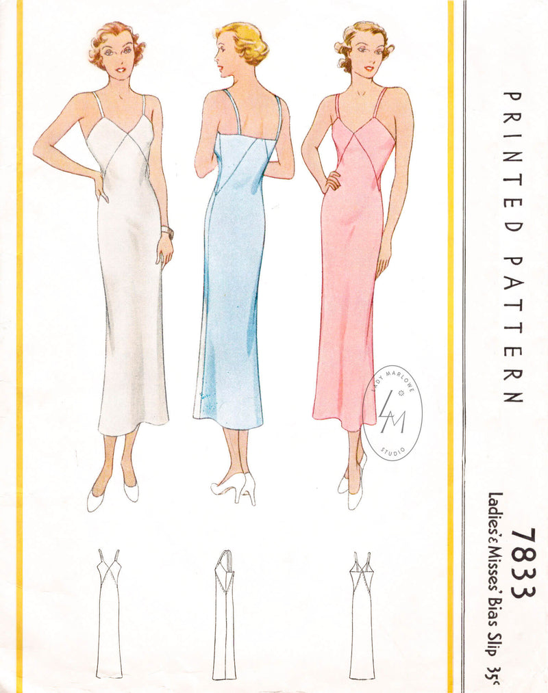 McCall 7833 1930s 1934 vintage lingerie sewing pattern slip dress