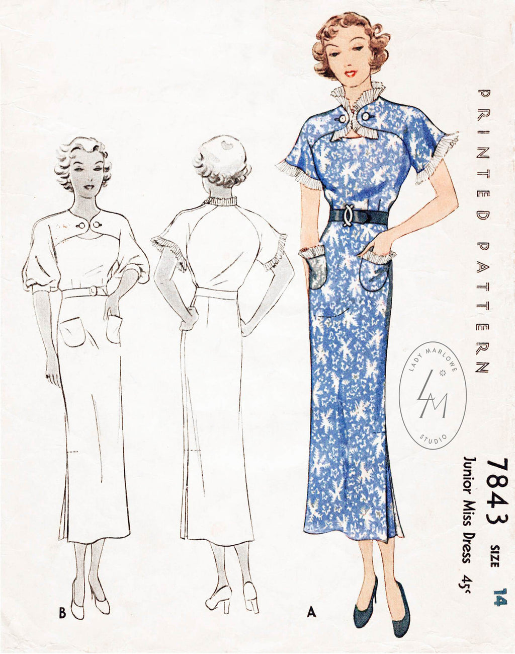 McCall 7843 1930s dress vintage sewing pattern 1930 30s