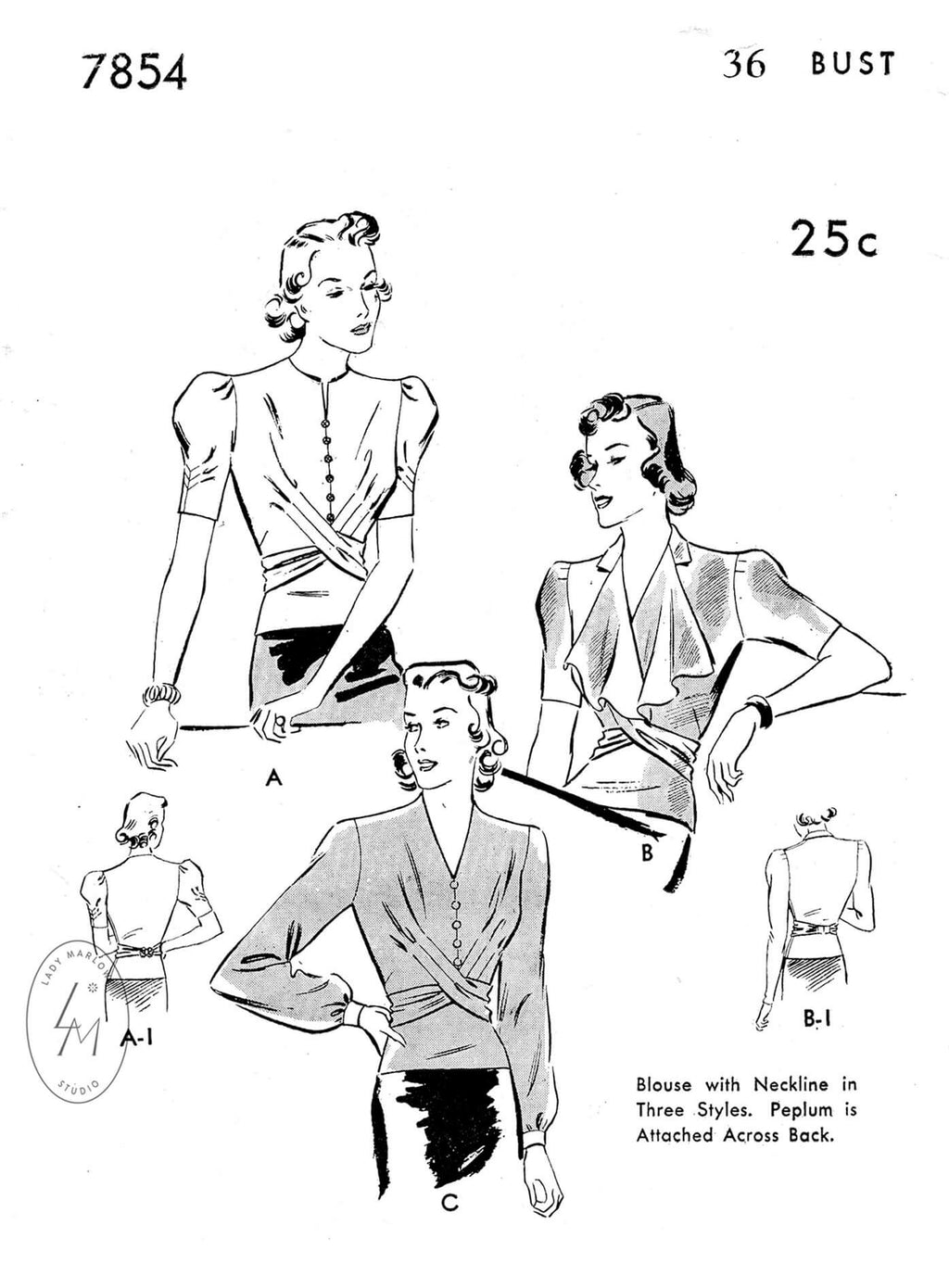 1930s blouse top vintage sewing pattern reproduction criss cross detail draped collar Butterick 7854