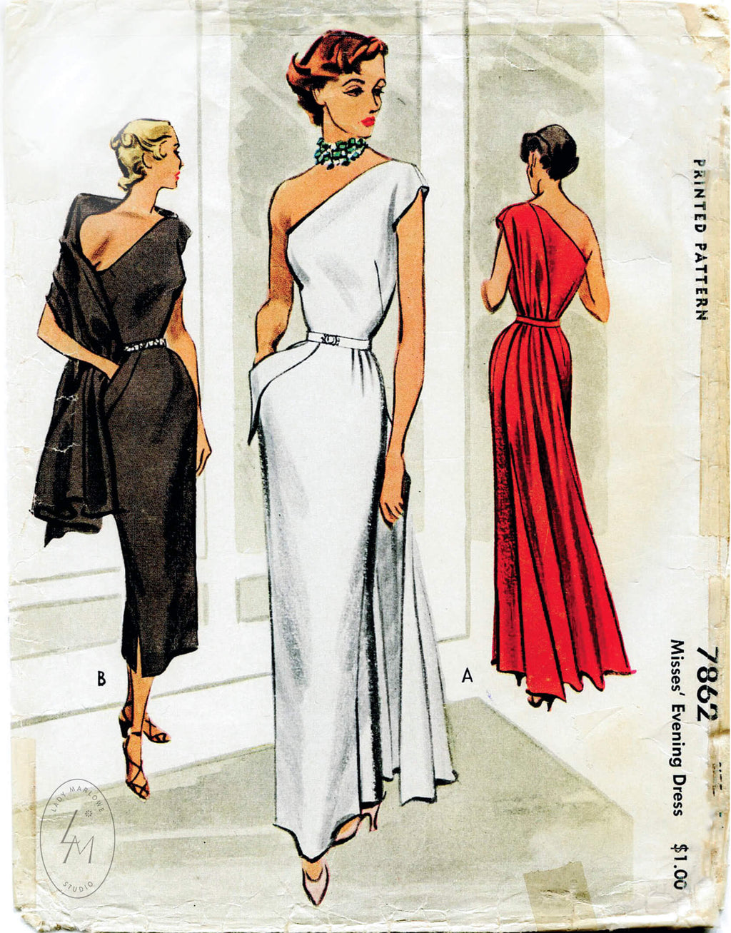 McCall 7862 1950s evening gown vintage sewing pattern