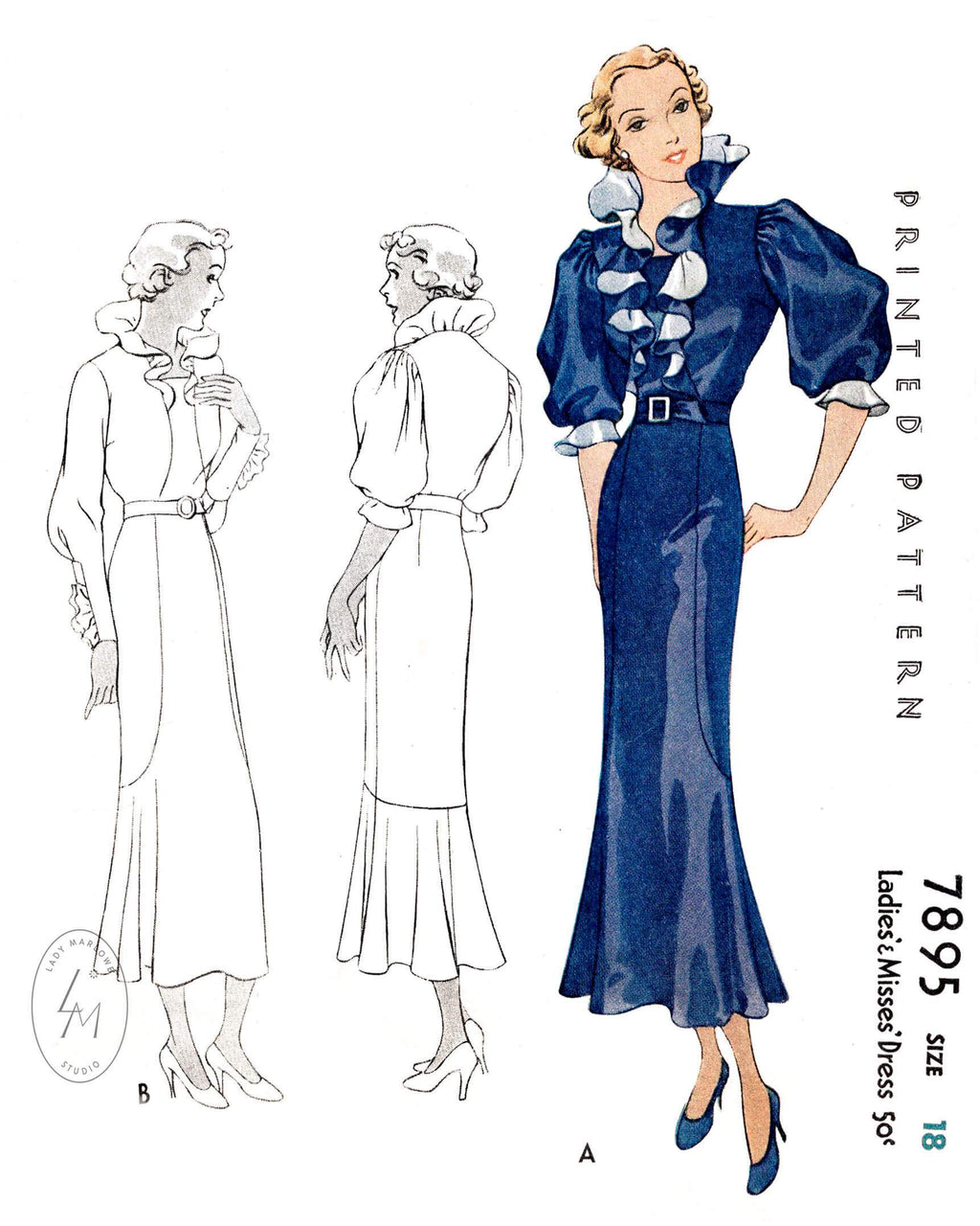 1930s dress McCall 7895 ruffle collar puff sleeves flounce hem vintage sewing pattern reproduction