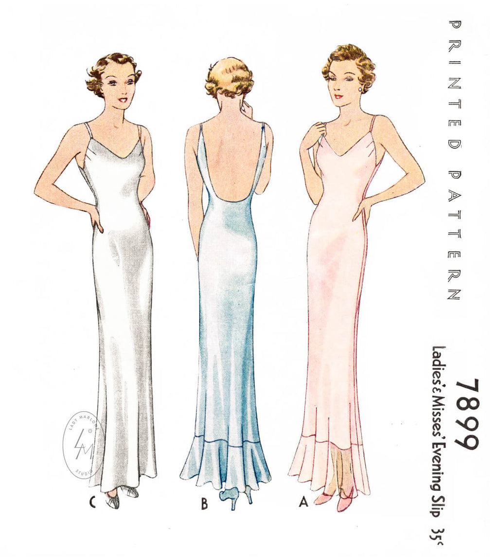 McCall 7899 1930s negligee evening slip vintage sewing pattern reproduction