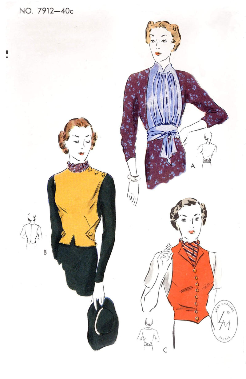 1930s blouse toppers in 3 styles Vogue 7912 gilet vest and draped styles vintage sewing pattern repro