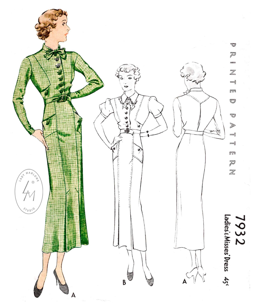 1930s 1934 vintage dress pattern McCall 7932 two styles short puff sleeves long straight sleeves inverted pleat skirt bow tie collar reproduction