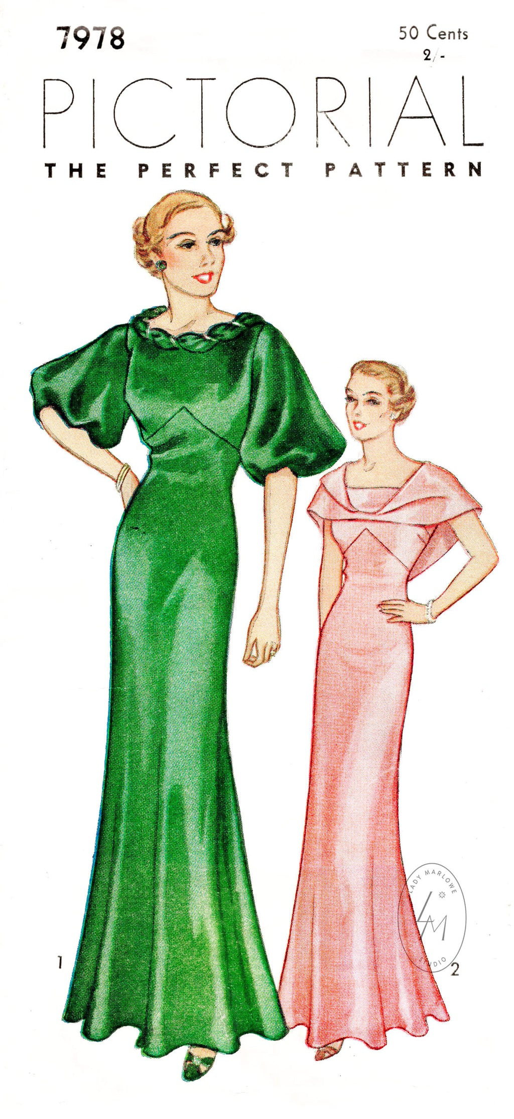 1930s evening gown in 3 styles Pictorial 7978 vintage sewing pattern reproduction