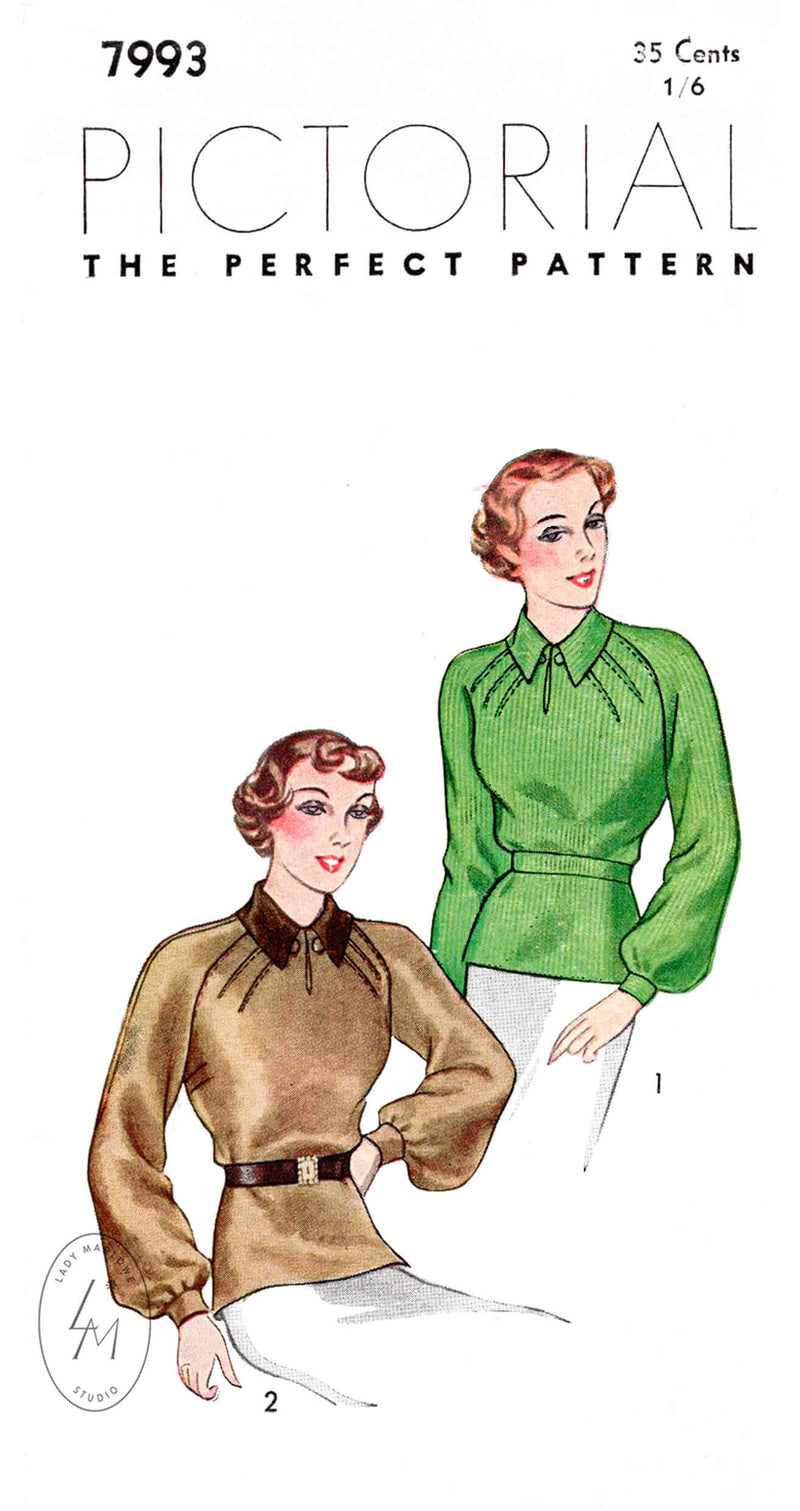 Pictorial Review 7993 1930s raglan sleeve blouse vintage sewing pattern reproduction