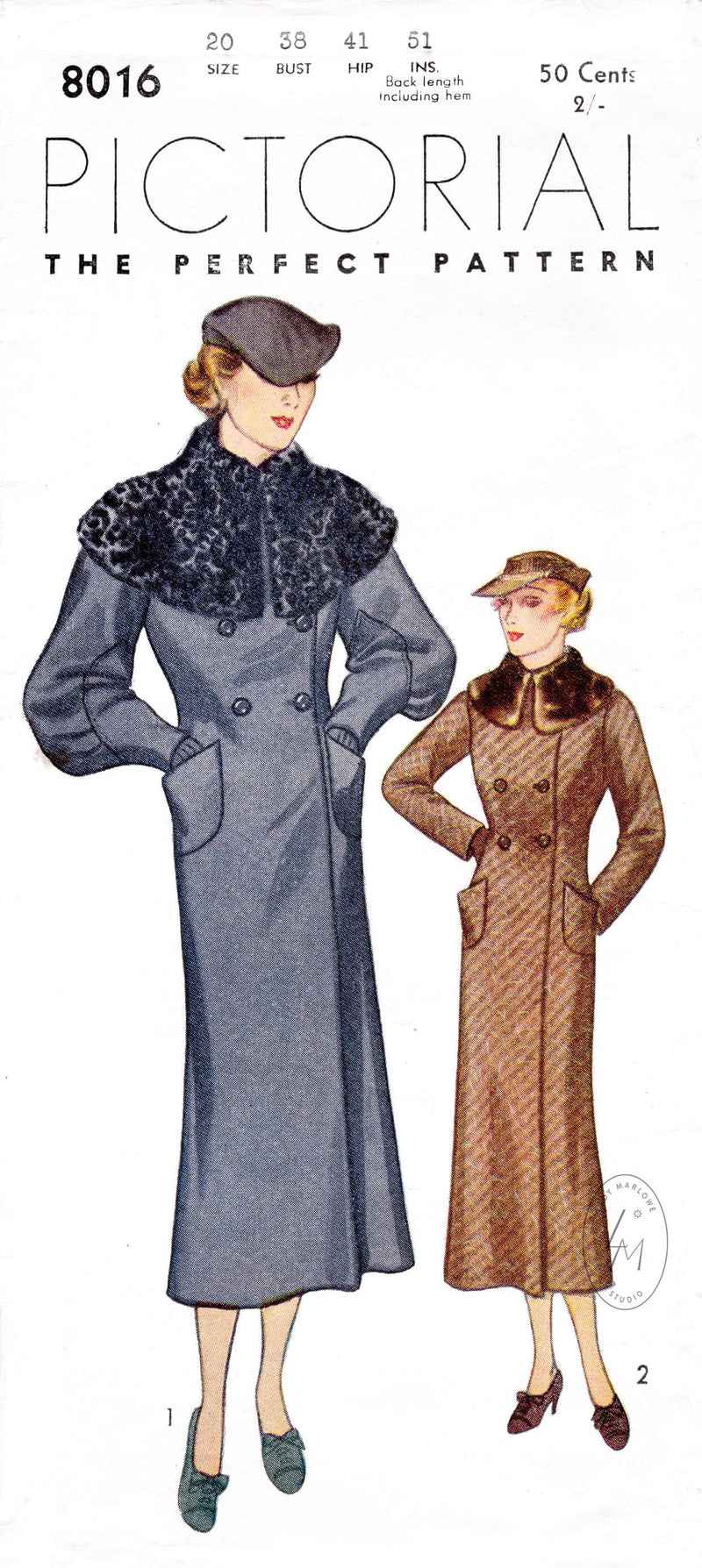 Pictorial Review 8016 1930s 1920s vintages coat sewing pattern