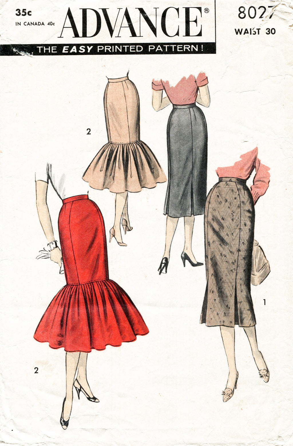 Advance 8027 1950s skirt sewing pattern