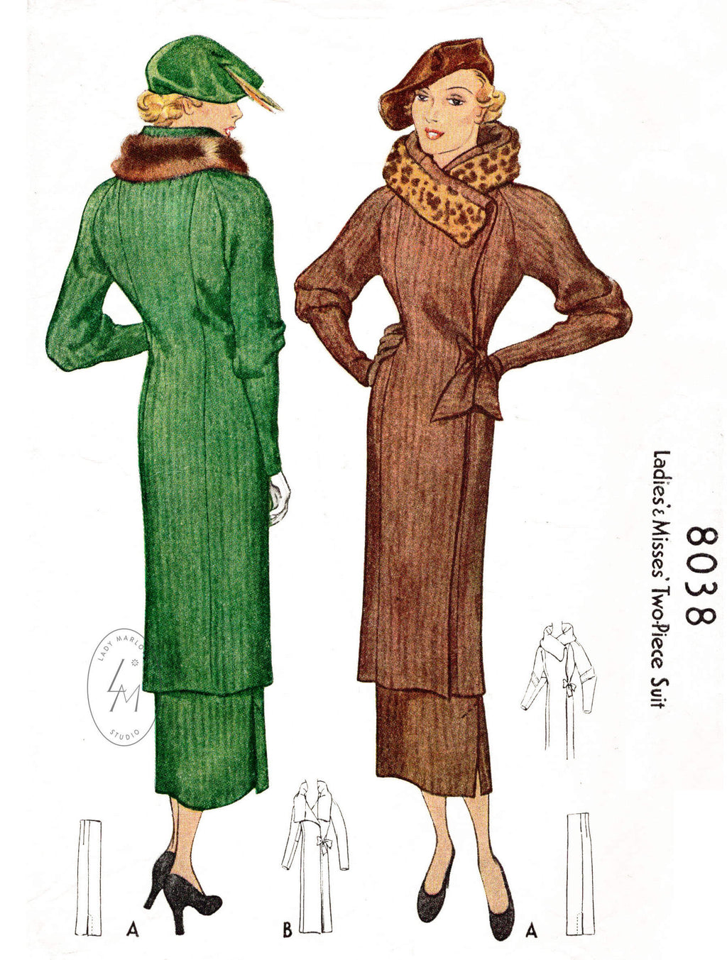 1930s 1934 McCall 8038 vintage wrap coat sewing pattern