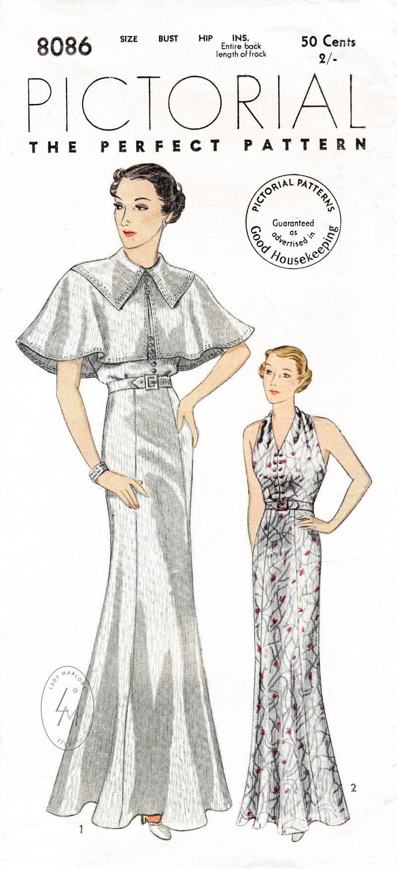 Pictorial Review 8086 1930s evening gown pattern