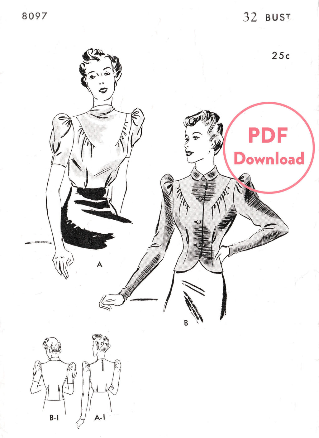 Butterick 8097 1930s blouse puff sleeves vintage sewing pattern PDF