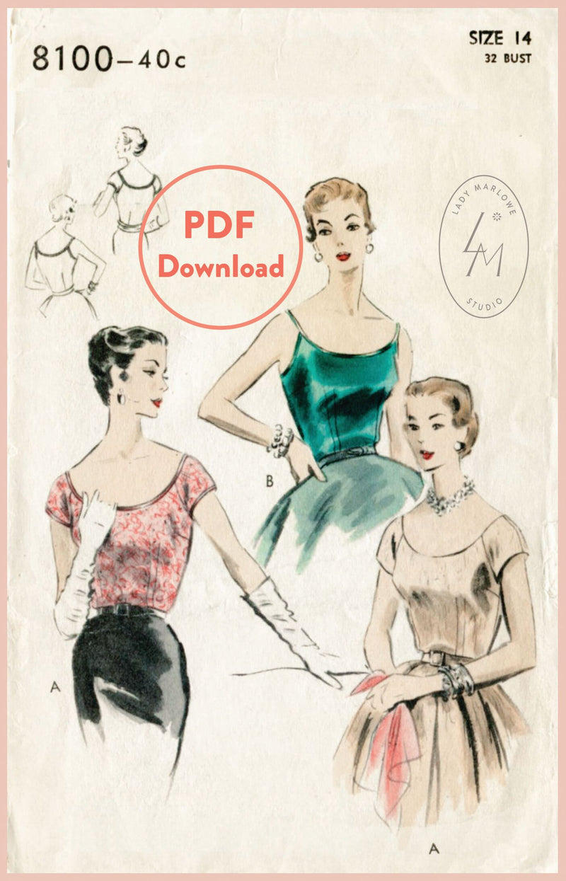 Vogue 8100 1950s blouse sewing pattern