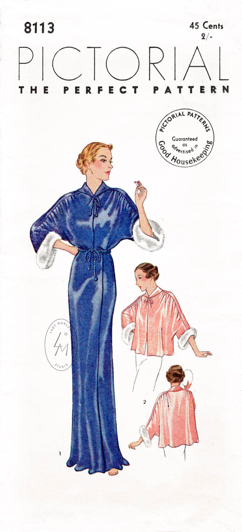 Pictorial 8113 1930s evening negligee dress & bed jacket sewing pattern