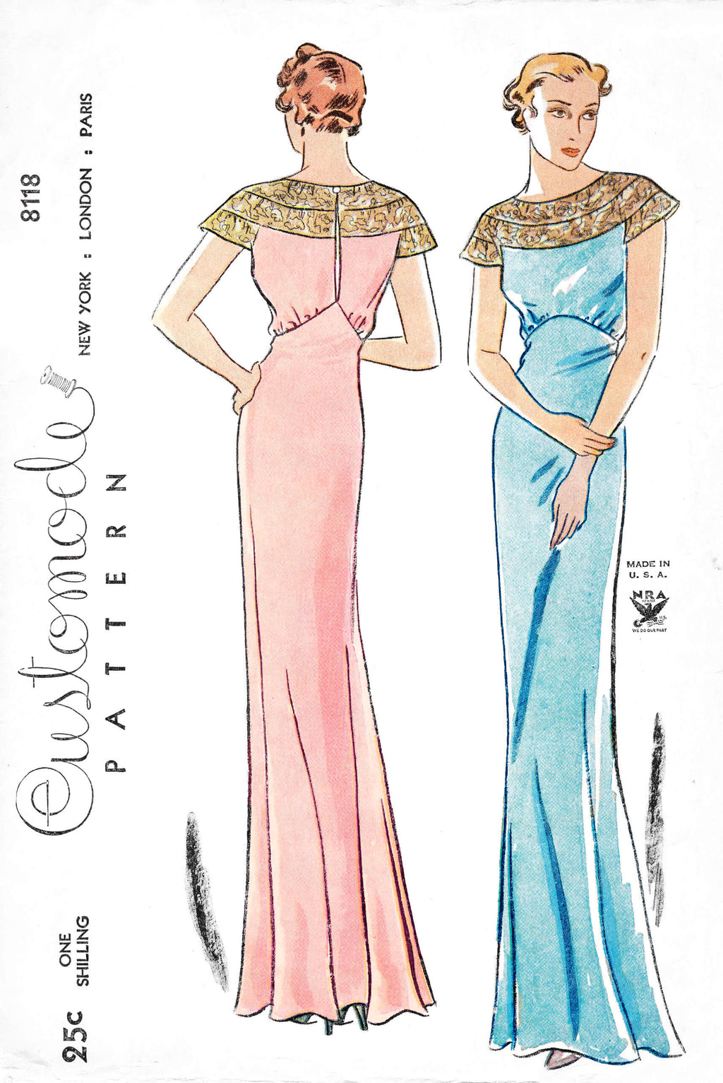 1930s 30s Simplicity Customode 8118 evening gown bias cut dress molded cap sleeves vintage sewing pattern reproduction