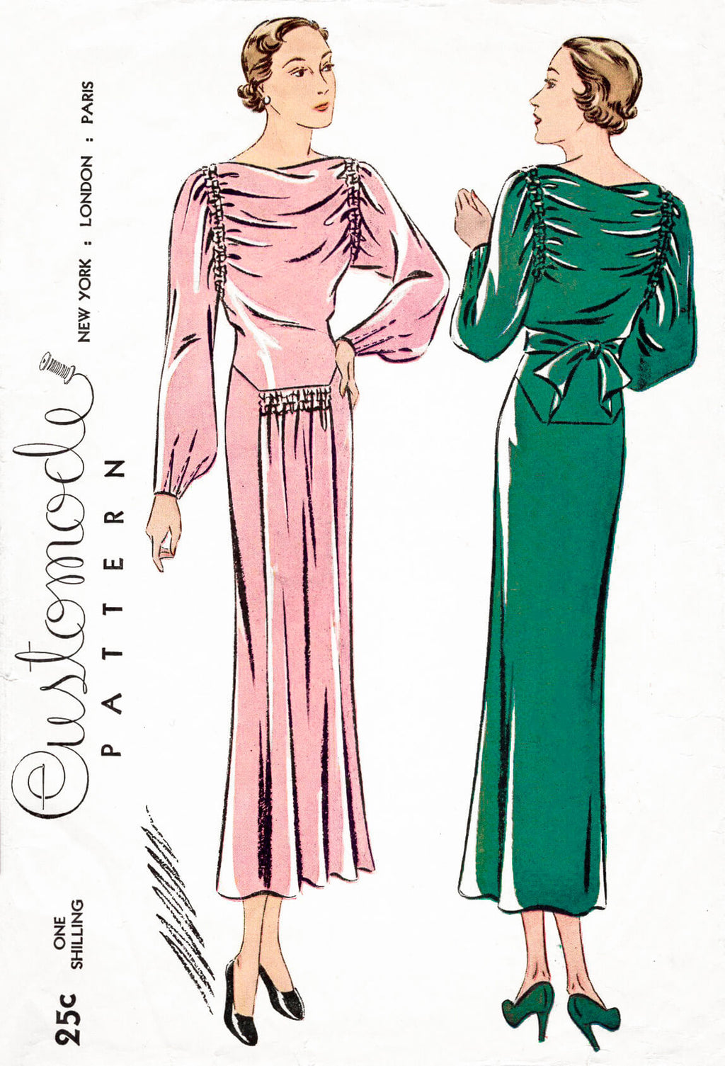 1930s 30s Simplicity Customode 8134 art deco dress shirring detail draped bateau neckline vintage sewing pattern reproduction
