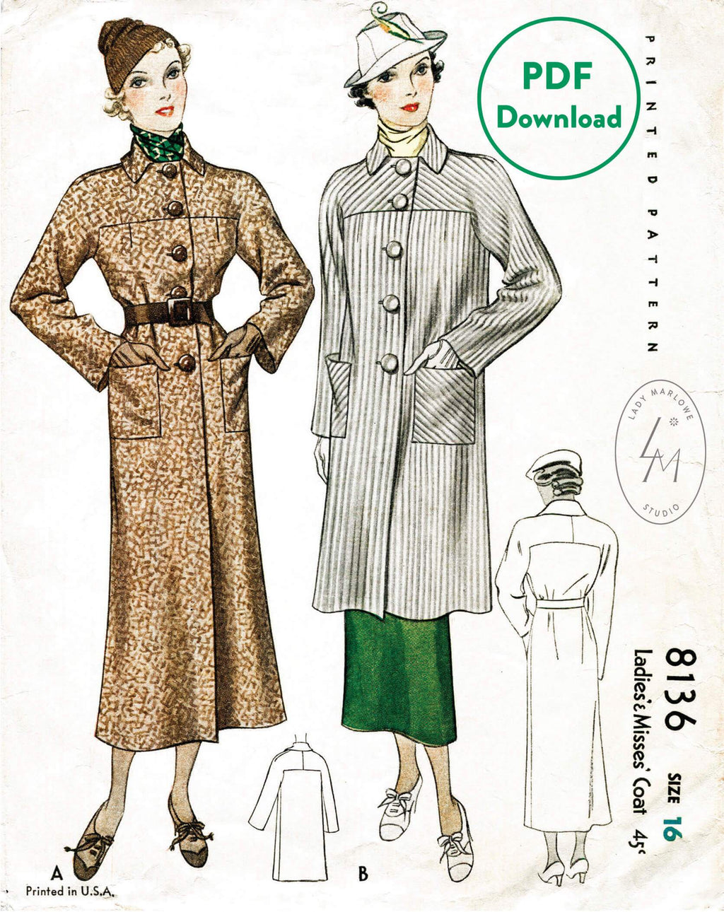 McCall 8136 vintage coat sewing pattern 1930s 30s 1930 outerwear PDF download