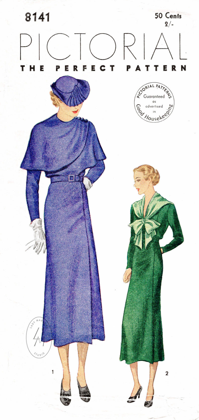 Pictorial Review 8141 1930s dress with wrap cape or bow tie collar vintage sewing pattern reproduction