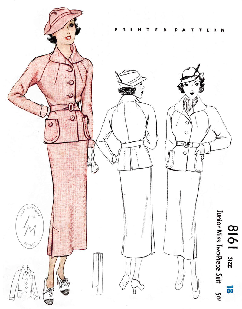 1930s 1935 skirt suit ensemble McCall 8161 jacket outerwear raglan sleeves pencil skirt vintage sewing pattern reproduction