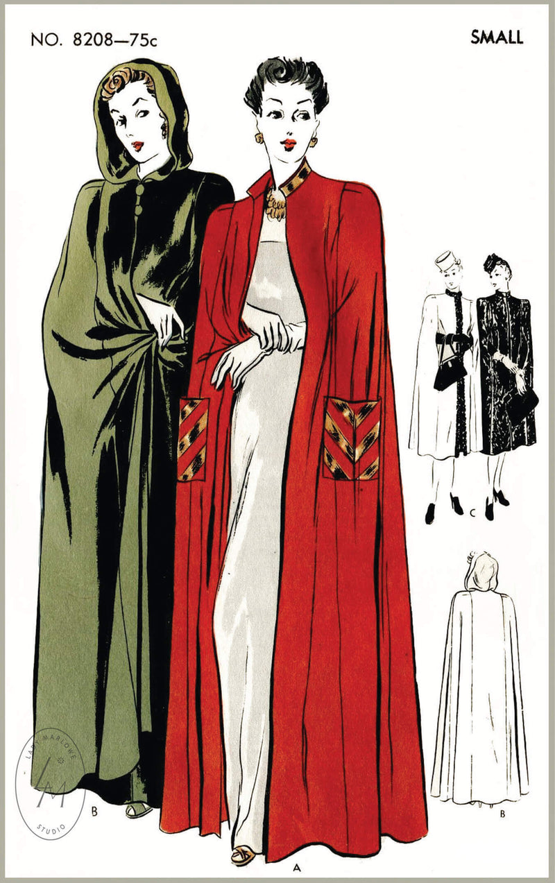 Vogue 8208 1940s cape vintage sewing pattern