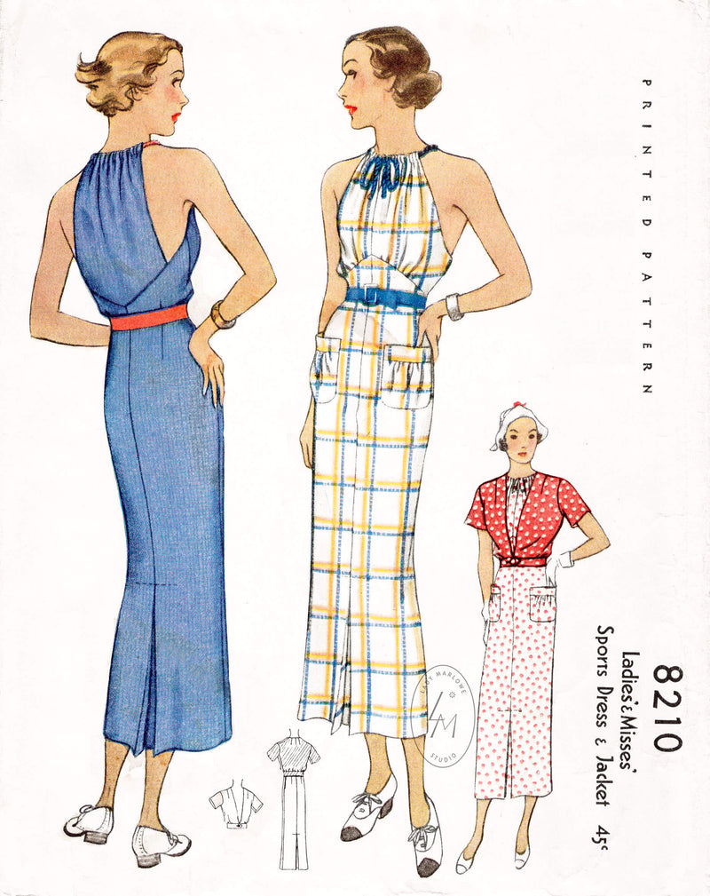 McCall 8210 1930s 1935 sleeveless sports dress and short sleeve jacket 2 piece ensemble vintage sewing pattern reproduction