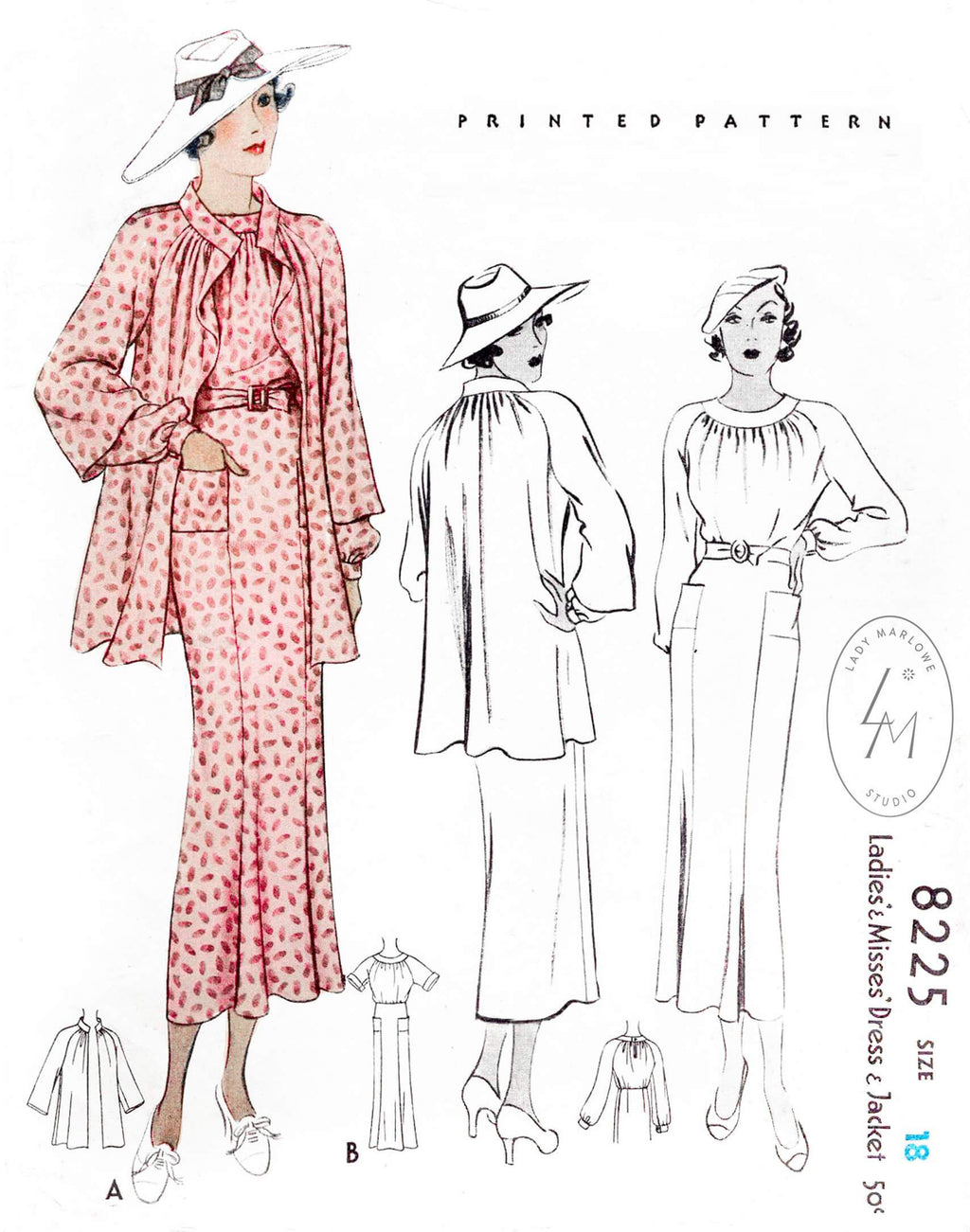 McCall 8225 1930s 1935 dress and jacket raglan sleeves vintage sewing pattern reproductino