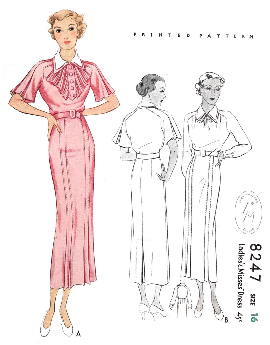 1930s dress McCall 8247 flutter sleeves accordion pleat jabot vintage sewing pattern reproduction