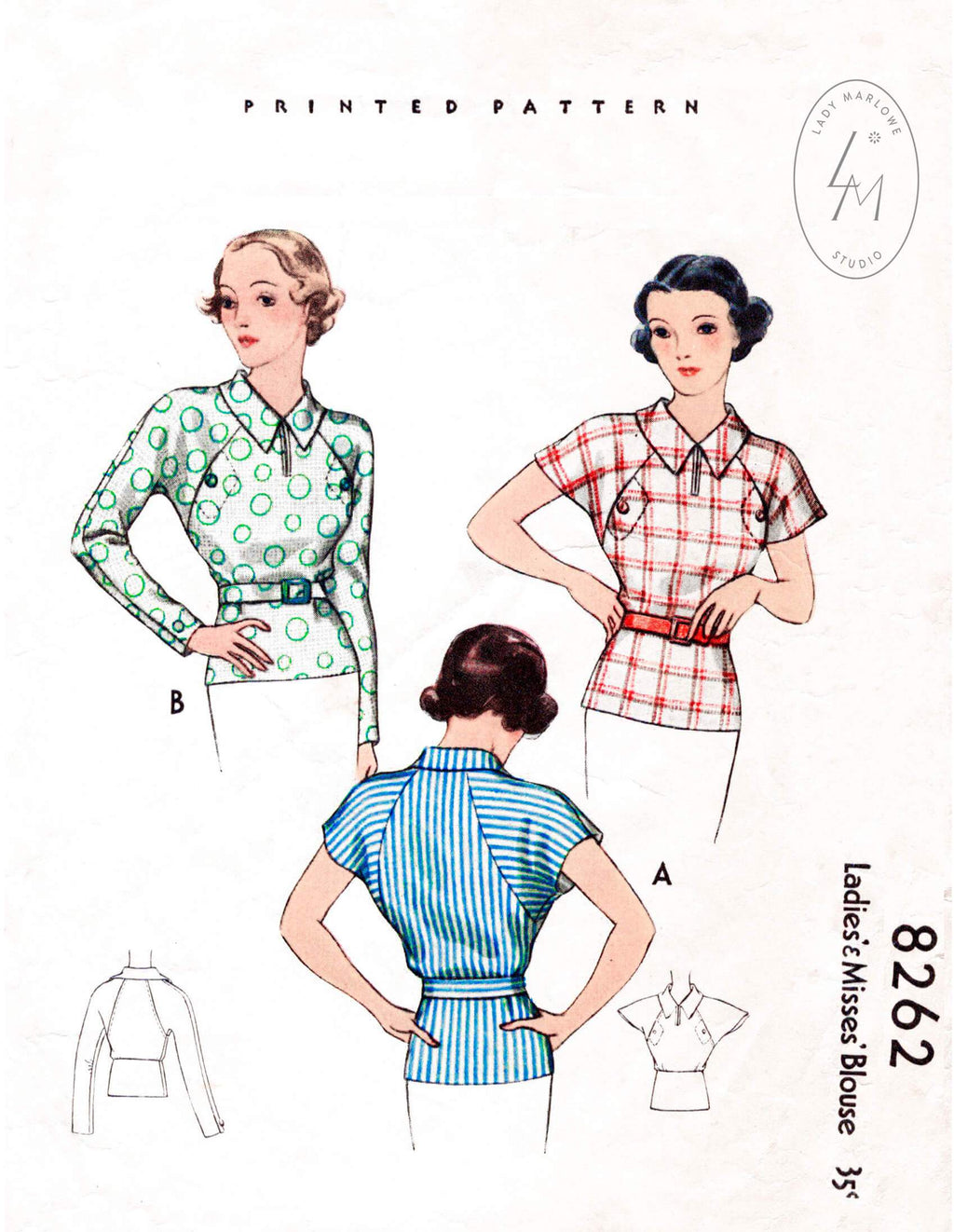 1930s blouse sewing pattern McCall 8262
