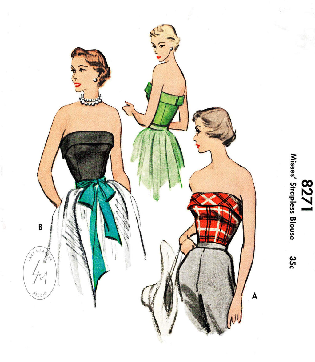 1950s McCall 8271 vintage bustier strapless top pattern vintage sewing reproduction