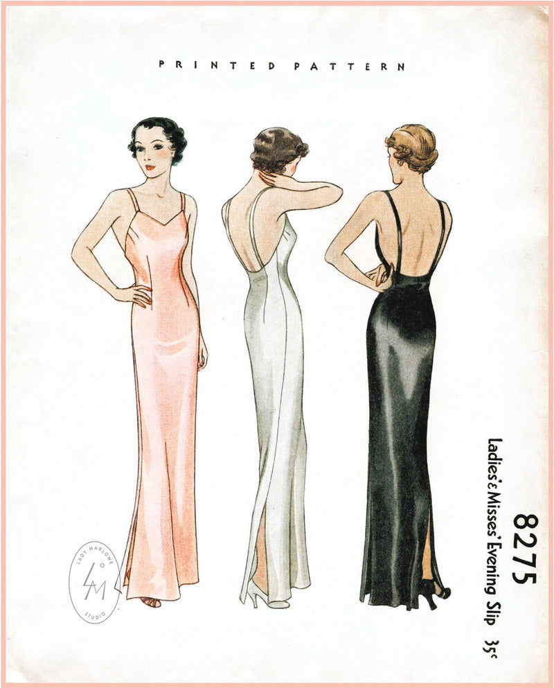 McCall 8275 1930s vintage lingerie sewing pattern 1930 30s evening slip dress