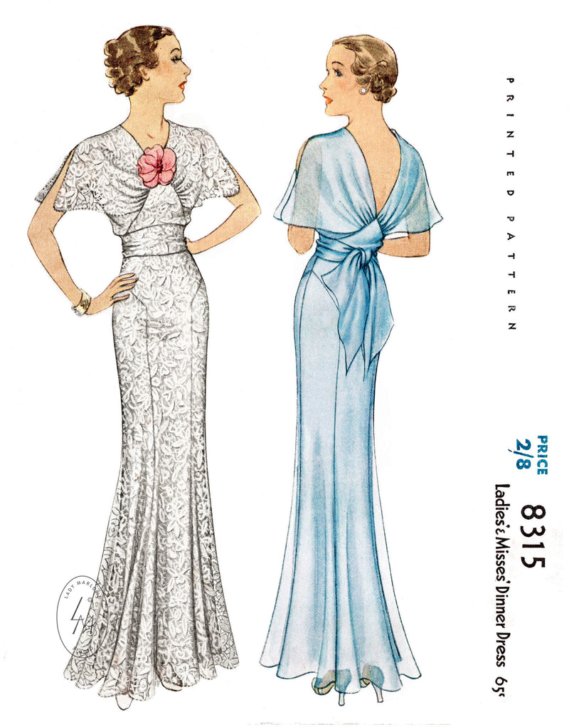 McCall 8315 1930s 1935 evening gown bridal wedding dress vintage sewing pattern reproduction