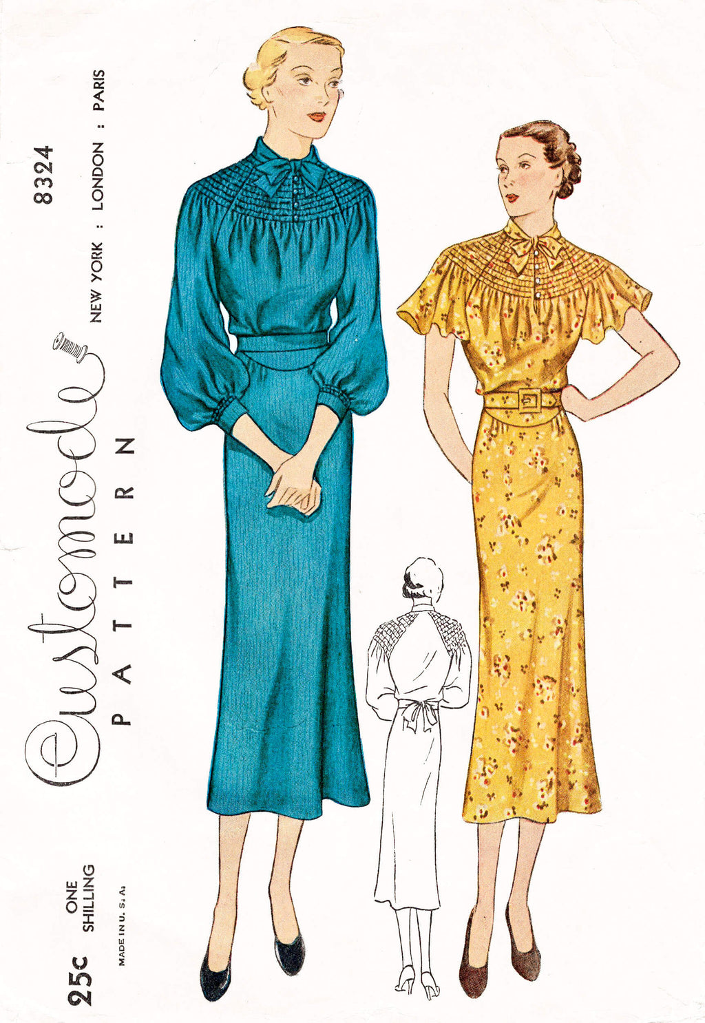 1930s 30s Customode Simplicity 8324 art deco dress flutter sleeves shirring neckline vintage sewing pattern reproduction