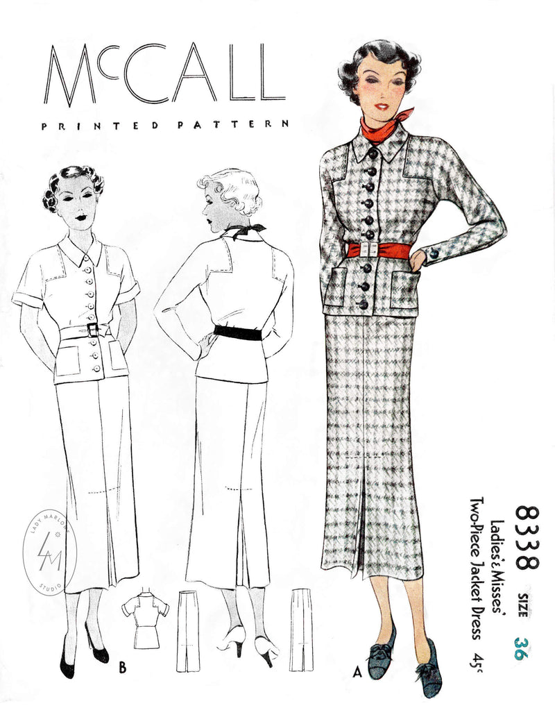 1930s 1935 McCall 8338 vintage sewing pattern reproduction blouse and skirt ensemble