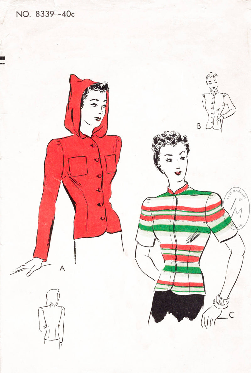 1940s button down blouse with hood vintage sewing pattern reproduction Vogue 8339