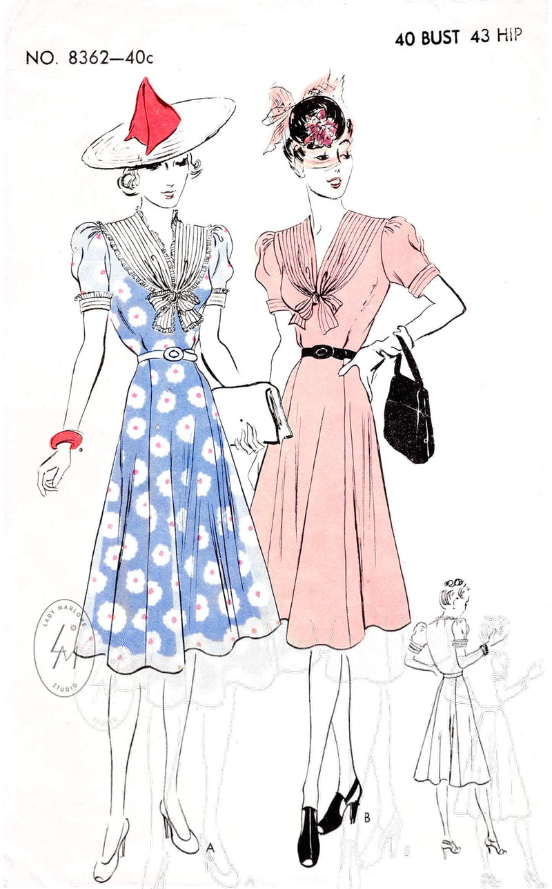 1930s 1940s day dress Vogue 8362 puff sleeves flared skirt pleat trim vintage sewing pattern reproduction