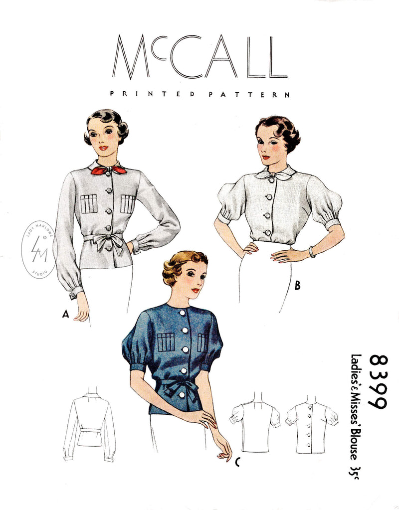 1930s 1935 set of blouses in 3 styles McCall 8399 puff sleeves accordion pleats bow tie collar vintage sewing pattern reproduction