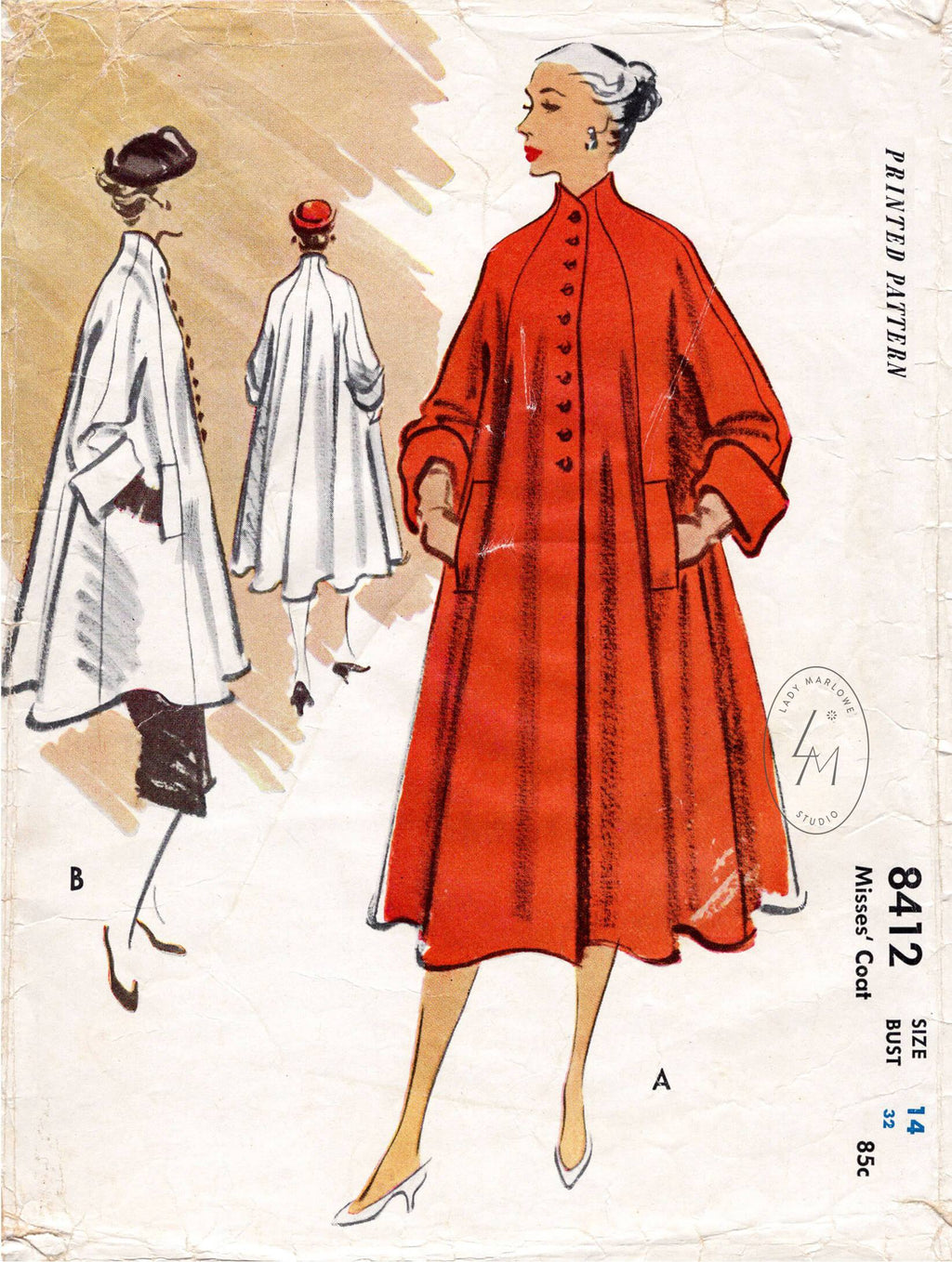 McCall 8412 1950s vintage sewing pattern 1950 50s trapeze swing coat