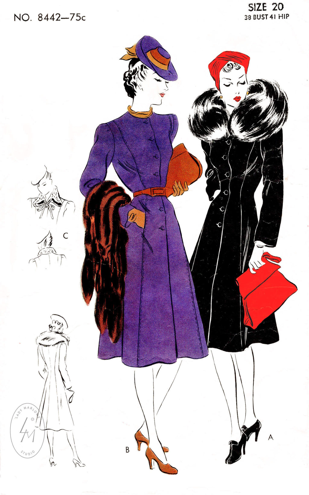 1930s coat vintage sewing pattern reproduction princess seams fur collar in 2 styles Vogue 8442
