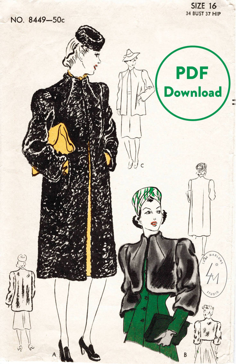 Vogue 8440 1940s vintage sewing pattern 1940 40s shearling coat bolero jacket PDF download