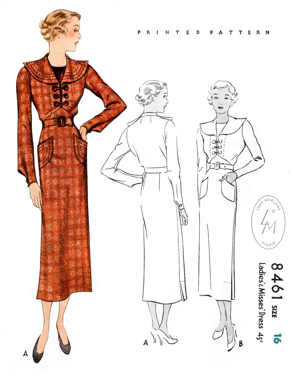 1930s 1935 day dress McCall 8461 round collar topstitching corded loop button closure dart sleeves vintage sewing pattern reproduction