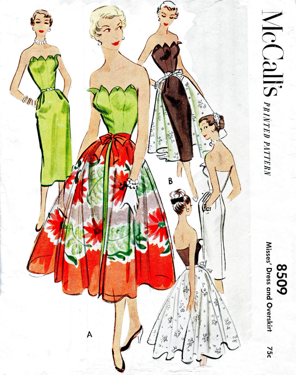 McCall's 8509 1950s 1951 cocktail evening dress full overskirt petal shaped bodice vintage sewing pattern reproduction